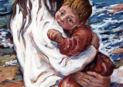 Maternidad en la playa