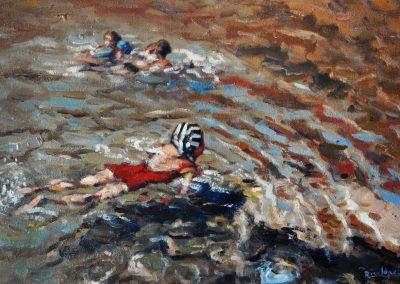 Mi esposa bañándose en la playa de Cadaqués Barcelona