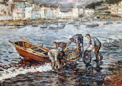 Transportando la pesca a la playa